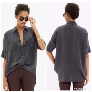 Madewell 100% Silk Courier Shirt Button Front Sz S